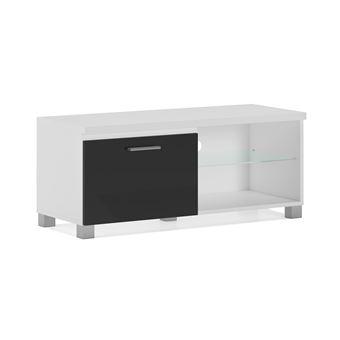 home innovation meuble de television led meuble de salon blanc et noir laque dimensions 100 x 40 x 42 cm de profondeur
