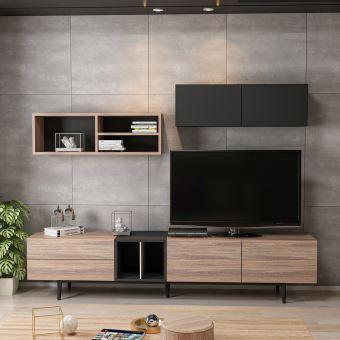 homemania meuble tv diany moderne bibliotheque avec portes etageres pour salon noir en bois 195 x 37 x 45 cm