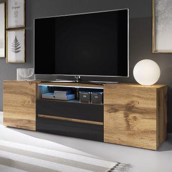 meuble tv meuble de salon bros 140 cm chene wotan noir brillant avec led 2 niches ouvertes 4 compartiments fermes