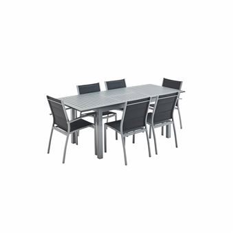 salon de jardin table extensible chicago 210 gris table en aluminium 150 210cm avec rallonge et 6 assises en textilene