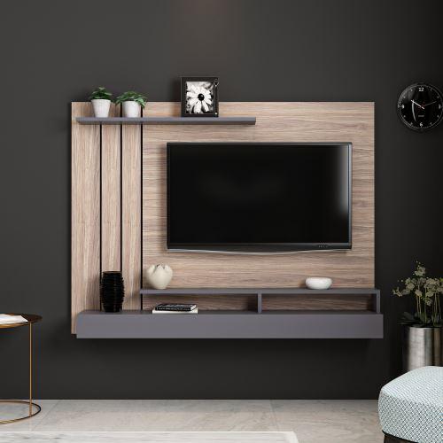 homemania meuble tv lawrance moderne murale avec etageres pour salon anthracite en bois 157 x 21 x 120 cm