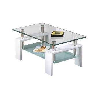 base blanc table basse rectangulaire plateau verre trempe