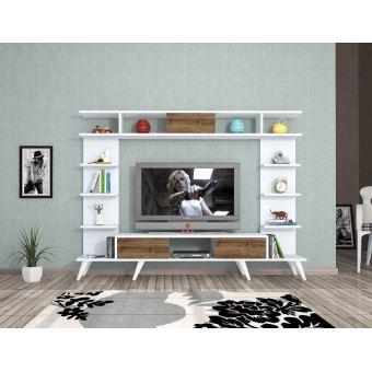 homemania meuble tv pan moderne murale avec portes etageres pour salon blanc chene en bois 180 x 35 x 135 cm