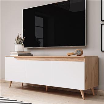 meuble tv alphard 140 cm craft dore blanc mat 3 rangements fermes design contemporain