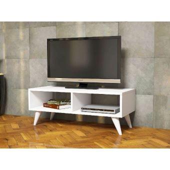 homemania meuble tv manolya moderne avec etageres pour salon blanc en bois 90 x 35 x 40 cm