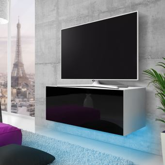 meuble tv suspendu skylara 100 cm blanc mat noir brillant eclairage led bleu style moderne