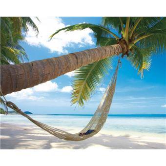 plages poster reproduction plage de reves avec palmier et hamac 40x50 cm