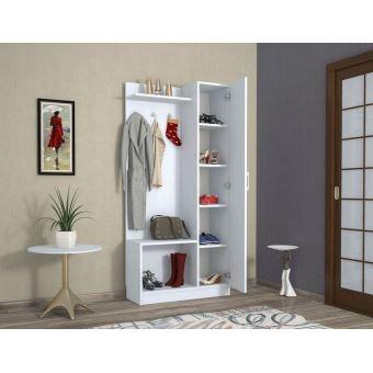 homemania vestiaire meuble d entree orion armoire avec etageres a chaussures miroir porte etageres blanc en bois 80 x 32 x 173 cm