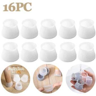 16pcs embout silicone de pied de chaise housses de protection meubles antiderapant couvercle ronde extensible
