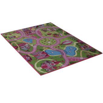 tapis de route 133 x 95 cm circuit rose