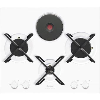 sauter spg4465mw table de cuisson gaz et electrique 4 plaques de cuisson niche largeur 56 cm profondeur 49 cm blanc