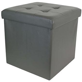 coffre pouf de rangement pliable 38x38x38 cm en pu gris