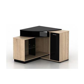 meuble tv d angle amael avec rangements coloris chene noir