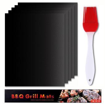 set de 5 tapis de cuisson pour barbecue et four 40cm 33cm feuilles anti adherent de bbq et feuilles de cuisson reutilisable pour les barbecue a gaz