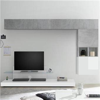 ensemble meuble tv blanc laque et gris lucano l 275 x p 50 x h 190 cm