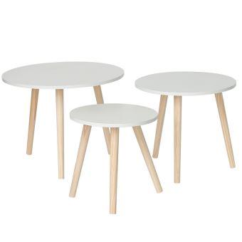 ensemble de table basse lot de 3 tables basse ronde pieds en pin zada blanche