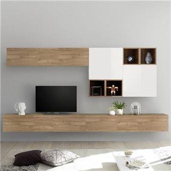 meuble tv suspendu couleur chene et blanc belfiore l 275 x p 30 x h 200 cm