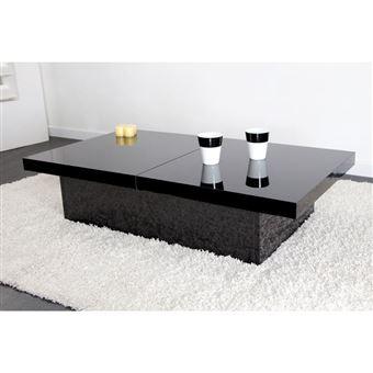 table basse 2 plateaux ouvrants laquee l110xp60xh25cm peps noir