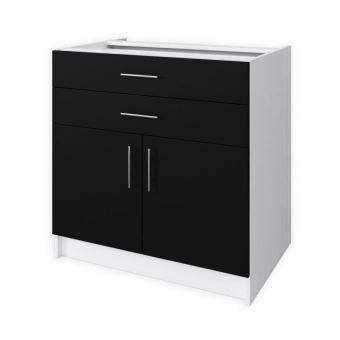 obi meuble bas de cuisine l 80 cm noir mat