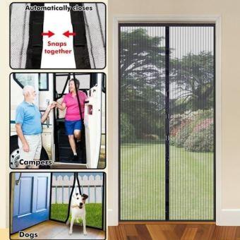 rideau moustiquaire magnetique 2 bandes en mailles serres anti moustique volants insecte pour porte fenetre l130 x h220cm