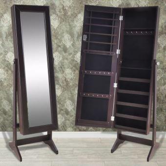 Meelady Armoire A Bijoux Avec Miroir Rangement Miroir Meuble Brun 46 X 37 X 146 Cm Achat Prix Fnac