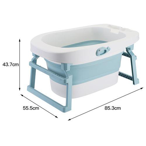 baignoire bebe oobest evolutive et pliable en pp avec support pour pomme de douche bleu