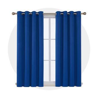 deconovo lot de 2 rideaux bleu roi a oeillets thermique isolant rideau chambre adultes design moderne pour enfant en salon rideau grande largeur
