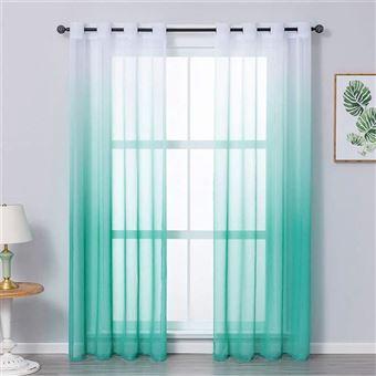 jupitte rideaux voilage blanc bleu vert 1 panneau 132x259cm
