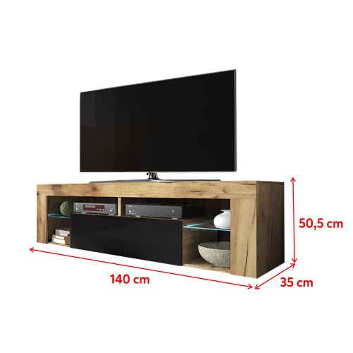 meuble tv banc tv bianko 140 cm chene lancaster noir brillant avec led style moderne tablettes en verre