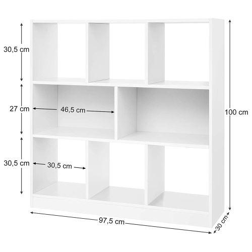 bibliotheque meuble de rangement acacion blanc 8 etageres symetrique