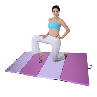 tapis de gymnastique pliable oobest epais pour fitness exercices rose violet