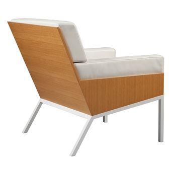 fauteuil lounge 1 acier cuir et bois alex de rouvray design blanc