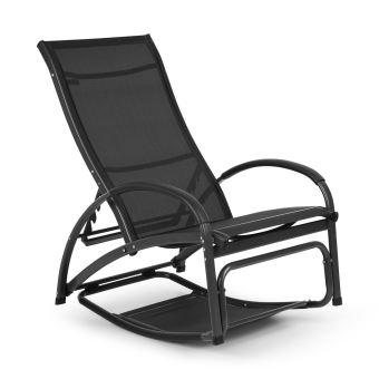 blumfeldt beverly wood chaise longue de jardin a bascule transat bain de soleil pliable aluminium noir
