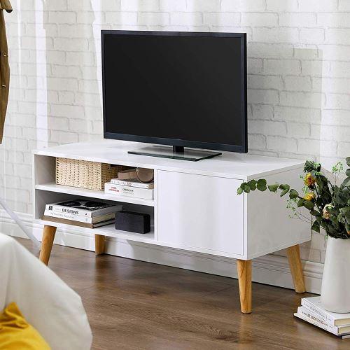 meuble tv meuble de salon skendera 110 cm blanc bois de caoutchouc style vintage
