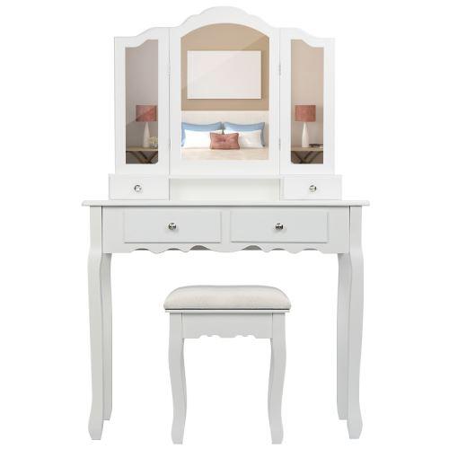 blanc coiffeuse table de maquillage style champetre avec tabouret 3 miroirs 4 tiroirs