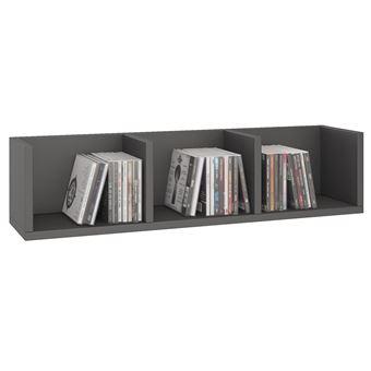 etagere murale nello pour cd et dvd en melamine gris mat