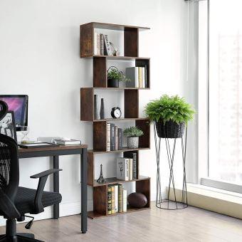 bibliotheque zigzag 6 niveaux kaliopsi 70 cm effet bois vintage finition mate forme minimaliste