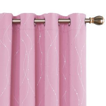 deconovo lot de 2 rideaux occultants isolant thermique argente rideaux motif geometrique a oeillets pour chambre 132x183cm rose