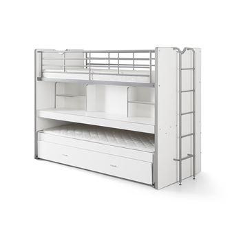 lit combine 3 couchages bureau sommier 90x200cm blanc bonny