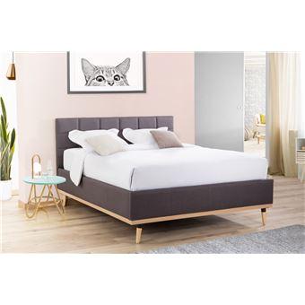 moka lit coffre 140 x 190 en tissu gris anthracite avec tete de lit capitonnee et pieds scandinaves
