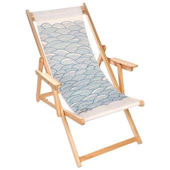 lona chilienne transat bois d eucalyptus tissu 100 coton elvas blanc casse imprime vagues bleus