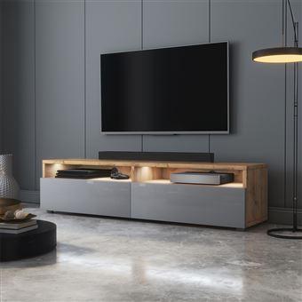 meuble tv rednaw 140 cm chene wotan gris brillant avec led style scandinave