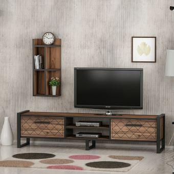 homemania meuble tv megy avec portes etageres pour salon en bois metal 184 x 39 x 45 cm