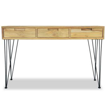 kkmoon table console armoire a tiroir table d entree table de salon en bois de teck massif style colonial 120 x 35 x 76 cm