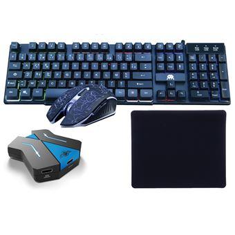 pack clavier souris et tapis polychroma avec convertisseur pour ps4 xbox one switch
