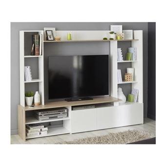 oregon meuble tv decor chene et blanc l 197cm