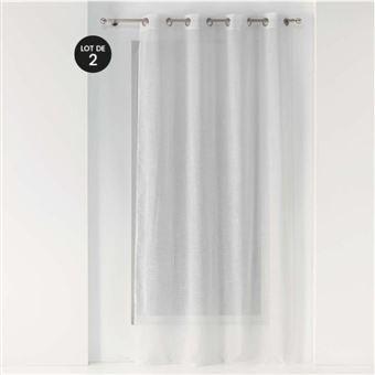 lot de 2 voilages a oeillets 140 x 240 cm effet lin tisse zazy blanc