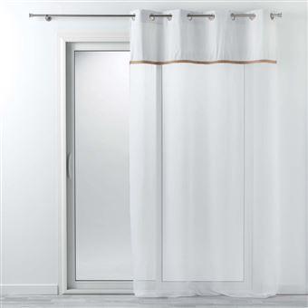 voilage a oeillets 140 x 240 cm voile uni jute blanc kelonia