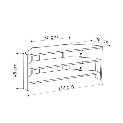 meuble tv d angle design scandinave thales l 114 x h 45 cm marron