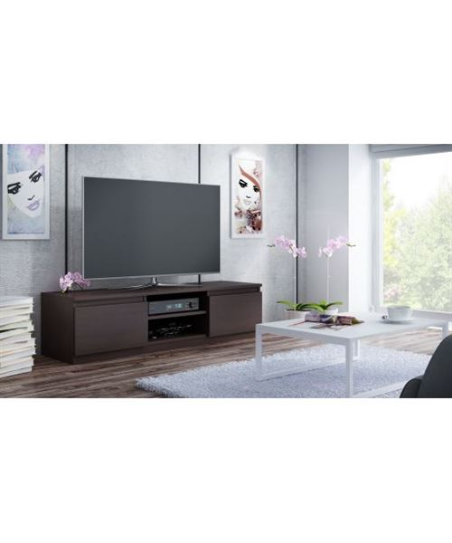 meuble tv moderne pour salon 140 cm wenge